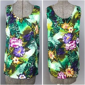 Vintage Floral Tank One Size Green Purple